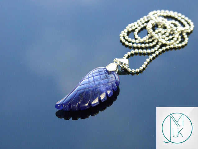 Sodalite Natural Gemstone Angel Wing Pendant Necklace-Pendant-Michael's UK Jewellery