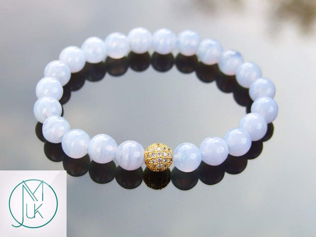 Blue Lace Agate Gold Micro Pave Natural Gemstone Bracelet 6-9'' Elasticated-Gemstone Bracelets-Michael's UK Jewellery
