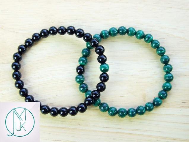 Couple Malachite Onyx Natural Gemstone Bracelet 6-9'' Elasticated-Gemstone Bracelets-Michael's UK Jewellery