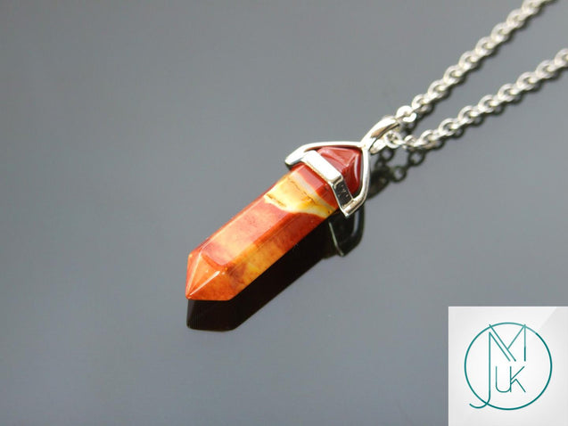 Mookaite Natural Crystal Point Pendant Gemstone Necklace-Gemstone Necklaces-Michael's UK Jewellery