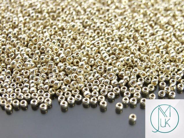 10g PF558 PermaFinish Galvanized Aluminium Toho Seed Beads 11/0 2.2mm-TOHO Glass Beads-Michael's UK Jewellery