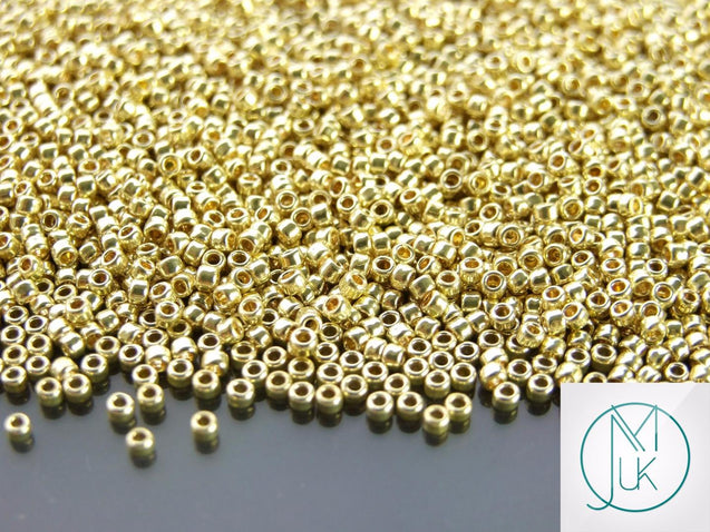 10g PF559 PermaFinish Galvanized Yellow Gold Toho Seed Beads 11/0 2.2mm-TOHO Glass Beads-Michael's UK Jewellery