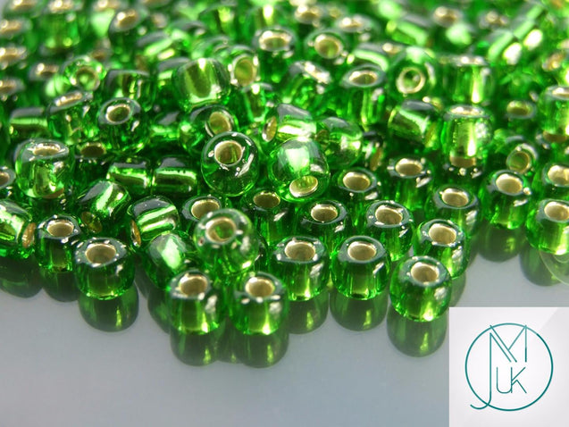 10g 27 Silver Lined Peridot Toho Seed Beads Size 3/0 5.5mm-TOHO Glass Beads-Michael's UK Jewellery