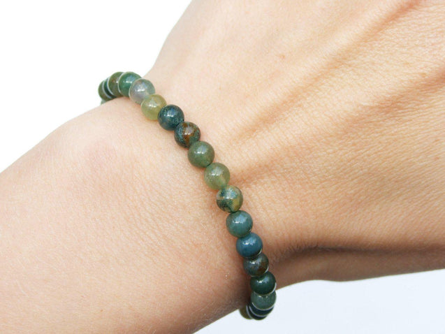 Moss Agate Natural 6mm Gemstone Bracelet 6-9'' Elasticated-Gemstone Bracelets-Michael's UK Jewellery