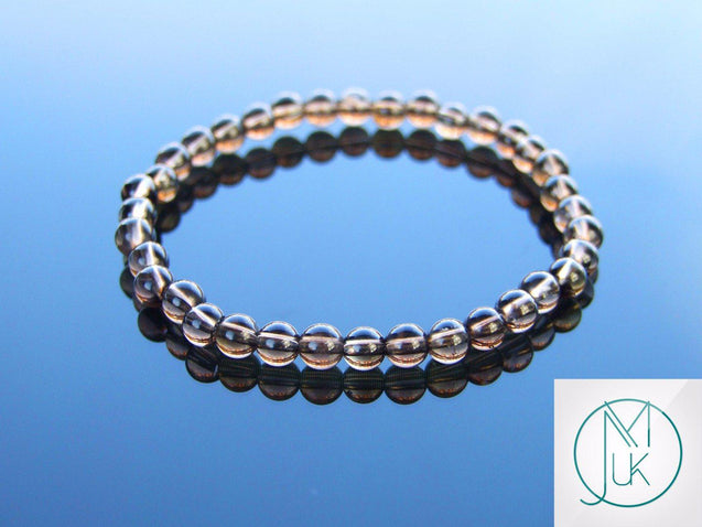 Smoky Quartz Natural 6mm Gemstone Bracelet 6-9'' Elasticated-Gemstone Bracelets-Michael's UK Jewellery