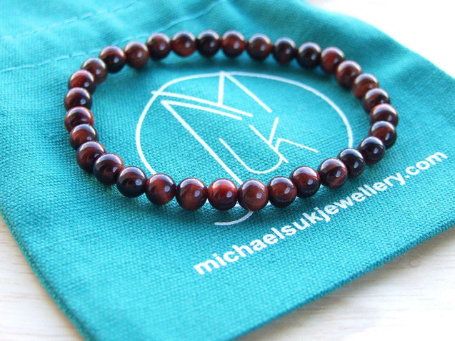 Red Tiger Eye Natural 6mm Gemstone Bracelet 6-9'' Elasticated-Gemstone Bracelets-Michael's UK Jewellery