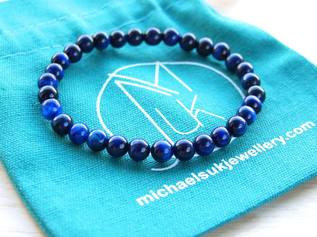 Blue Tigers Eye Natural Dyed 6mm Gemstone Bracelet 6-9'' Elasticated-Gemstone Bracelets-Michael's UK Jewellery