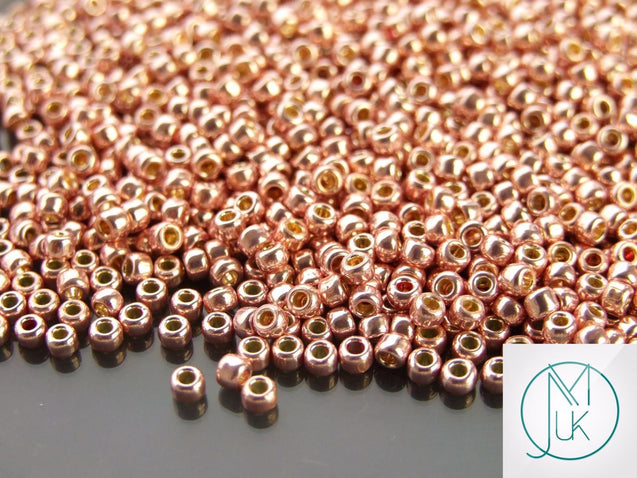 10g PF552 PermaFinish Galvanized Sweet Blush Toho Seed Beads 8/0 3mm-TOHO Glass Beads-Michael's UK Jewellery