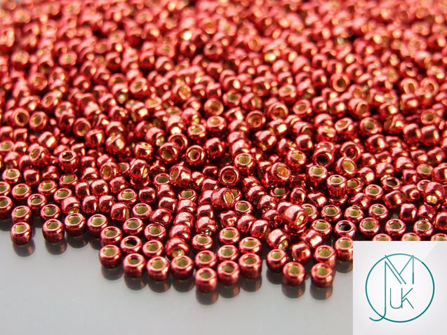 10g PF564 PermaFinish Galvanized Brick Red Toho Seed Beads 8/0 3mm-TOHO Glass Beads-Michael's UK Jewellery