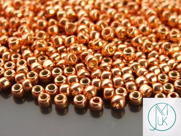 10g PF551 PermaFinish Galvanized Rose Gold Toho Seed Beads 6/0 4mm-TOHO Glass Beads-Michael's UK Jewellery