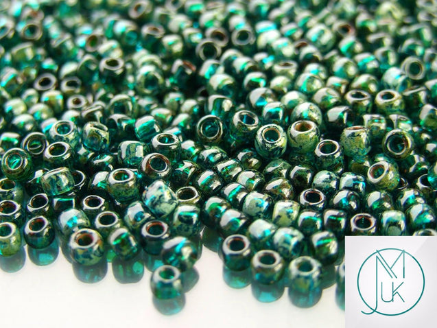 10g Y322 HYBRID Picasso Transparent Capri Blue Toho Seed Beads 6/0 4mm-TOHO Glass Beads-Michael's UK Jewellery