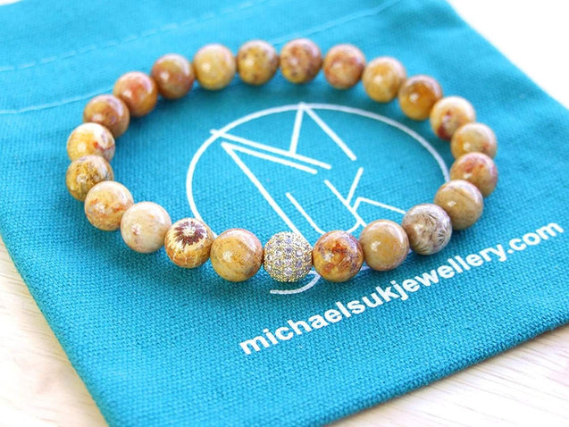Chrysanthemum Gold Micro Pave Natural Gemstone Bracelet 6-9'' Elasticated-Gemstone Bracelets-Michael's UK Jewellery