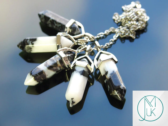 Zebra Jasper Natural Crystal Point Pendant Gemstone Necklace-Gemstone Necklaces-Michael's UK Jewellery