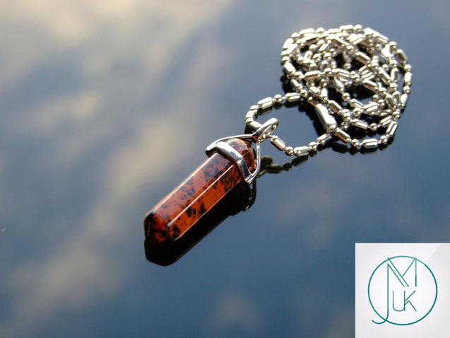 Mahogany Obsidian Natural Crystal Point Pendant Gemstone Necklace-Gemstone Necklaces-Michael's UK Jewellery
