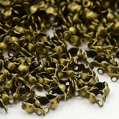 200x Antique Bronze Iron End Plated Open 2 Rings Clamshells Calottes-Jewellery Making-Michael's UK Jewellery