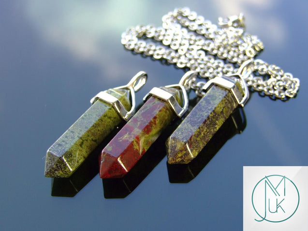 Bloodstone Natural Crystal Point Pendant Gemstone Necklace-Gemstone Necklaces-Michael's UK Jewellery
