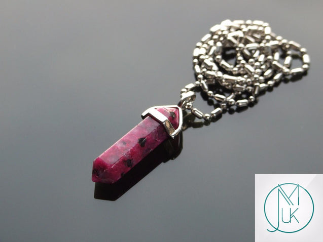 Fuchsia Sesame Jasper Natural Crystal Point Pendant Gemstone Necklace-Gemstone Necklaces-Michael's UK Jewellery