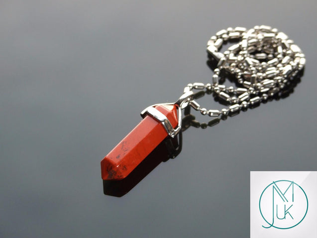 Red Jasper Natural Crystal Point Pendant Gemstone Necklace-Gemstone Necklaces-Michael's UK Jewellery