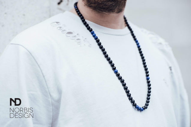 Men's Necklace Lapis Lazuli/Onyx Natural Gemstone 30inch-Gemstone Necklaces-Michael's UK Jewellery