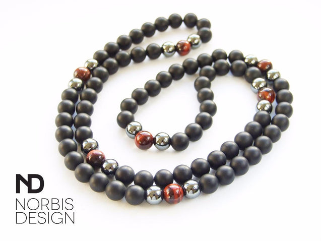 Men's Necklace Onyx/Red Tigers Eye Natural Gemstone 28inch-Gemstone Necklaces-Michael's UK Jewellery