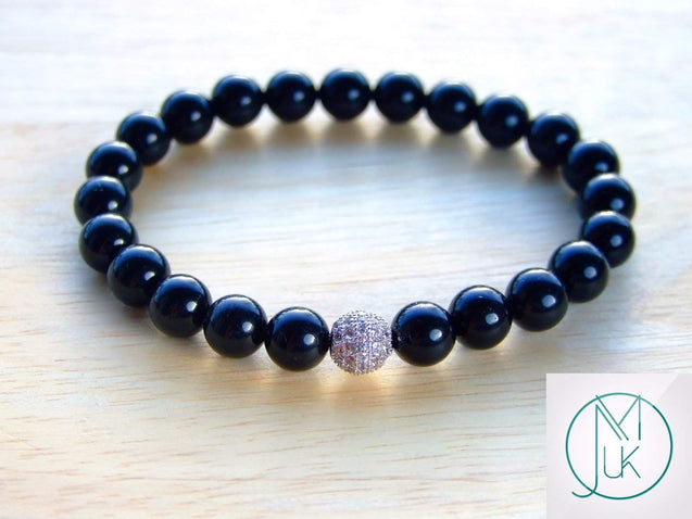 Black Obsidian Silver Micro Pave Gemstone Bracelet 6-9'' Elasticated-Gemstone Bracelets-Michael's UK Jewellery