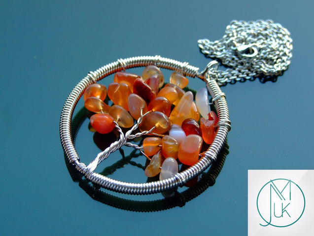 Handmade Red Agate Tree of Life Natural Gemstone Pendant Necklace 50cm-Pendant Necklace-Michael's UK Jewellery