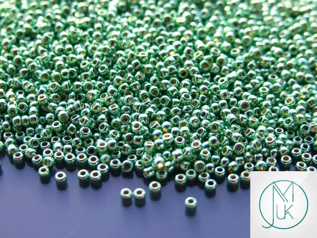 10g PF570 PermaFinish Galvanized Mint Green Toho Seed Beads Size 11/0 2.2mm-TOHO Glass Beads-Michael's UK Jewellery