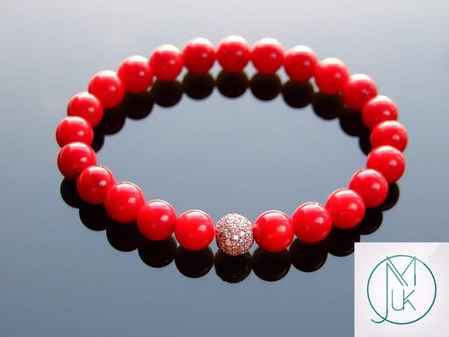 Red Coral Rose Gold Micro Pave Natural Dyed Gemstone Bracelet 6-9'' Elasticated-Gemstone Bracelets-Michael's UK Jewellery