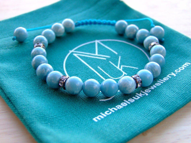 Chinese Larimar/Hemimorphite Natural Gemstone Bracelet 6-9'' Macrame-Gemstone Bracelets-Michael's UK Jewellery
