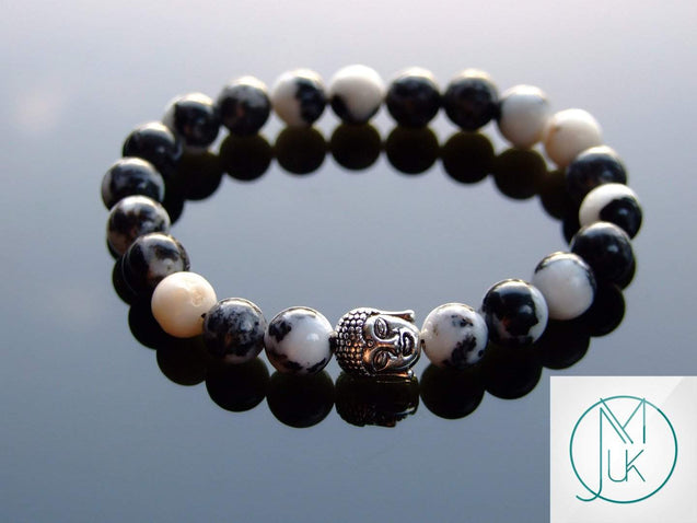 Buddha Mexican Jasper Natural Gemstone Bracelet 6-9'' Elasticated-Gemstone Bracelets-Michael's UK Jewellery