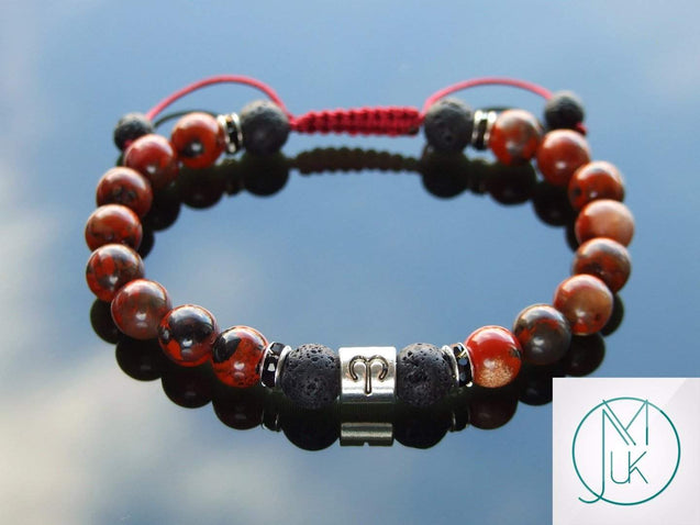 Aries Poppy Jasper Lava Birthstone Bracelet 6-9'' Macrame-Gemstone Bracelets-Michael's UK Jewellery
