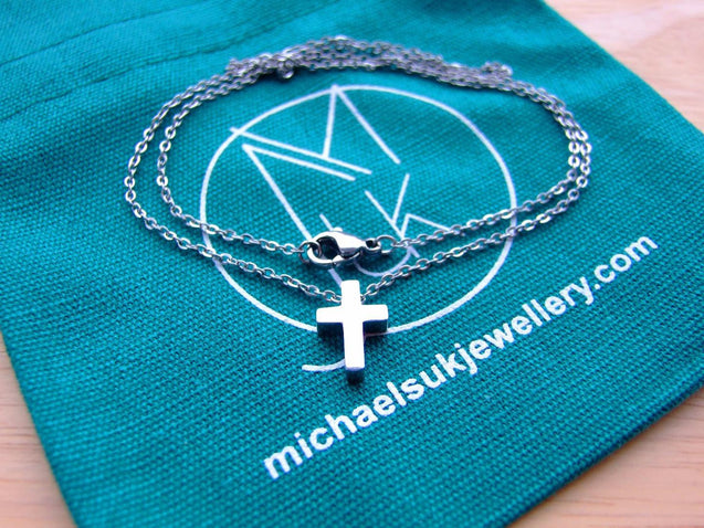 Modern Stainless Steel Silver Tone Small Cross Necklace 18''-Stainless Steel Jewellery-Michael's UK Jewellery