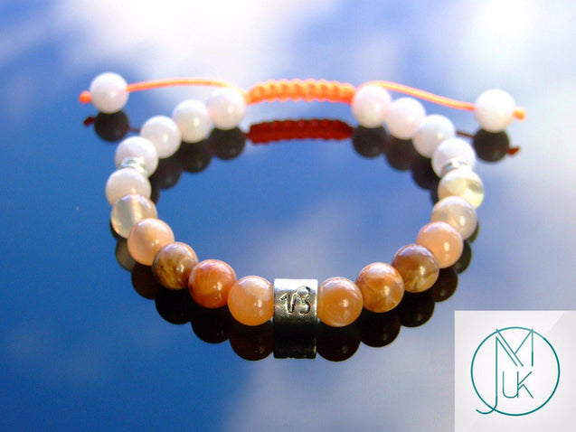 Capricorn Moonstone Sunstone Birthstone Bracelet 6-9'' Macrame-Gemstone Bracelets-Michael's UK Jewellery