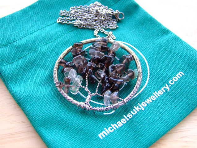 Handmade Smoky Quartz Tree of Life Natural Gemstone Pendant Necklace 50cm-Pendant Necklace-Michael's UK Jewellery