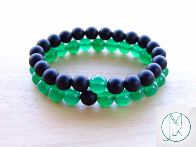 Couple Green Agate/Onyx Natural Gemstone Bracelet 6-9'' Elasticated-Gemstone Bracelets-Michael's UK Jewellery