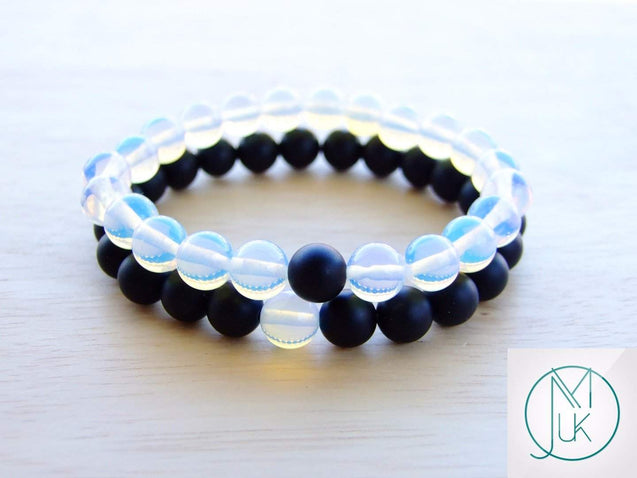 Couple Opalite/Onyx Natural Gemstone Bracelet 6-9'' Elasticated-Gemstone Bracelets-Michael's UK Jewellery
