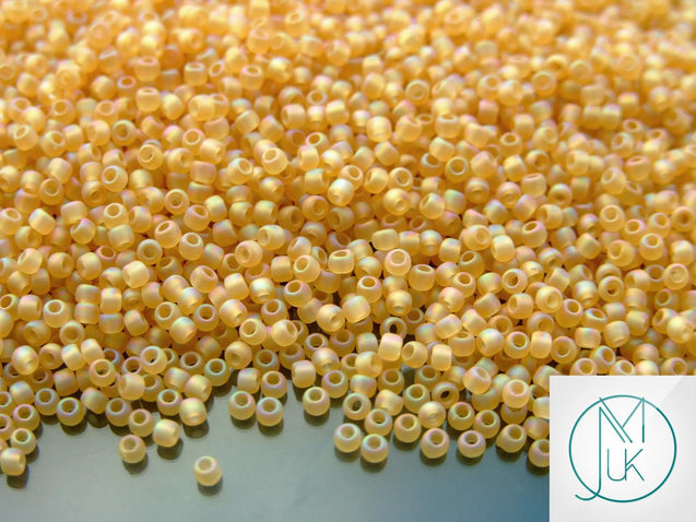 10g 162F Transparent Frosted Light Topaz Rainbow Toho Seed Beads Size 11/0 2.2mm-TOHO Glass Beads-Michael's UK Jewellery