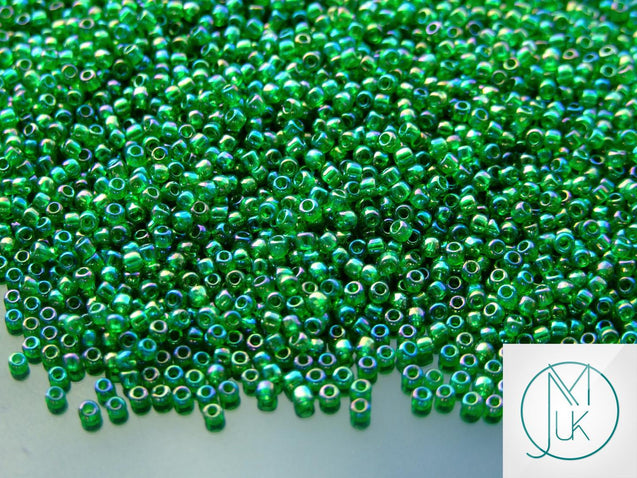 10g 167B Transparent Grass Green Rainbow Toho Seed Beads Size 11/0 2.2mm-TOHO Glass Beads-Michael's UK Jewellery