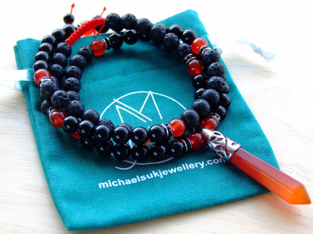 Carnelian Lava Onyx Crystal Natural Gemstone Macrame Necklace-Gemstone Necklaces-Michael's UK Jewellery