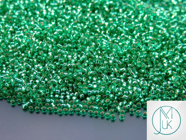 10g 24B Silver Lined Dark Peridot Toho Seed Beads 15/0 1.5mm-TOHO Glass Beads-Michael's UK Jewellery