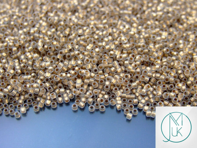 10g 989FM Gold Lined Frosted Crystal Toho Seed Beads 15/0 1.5mm-TOHO Glass Beads-Michael's UK Jewellery