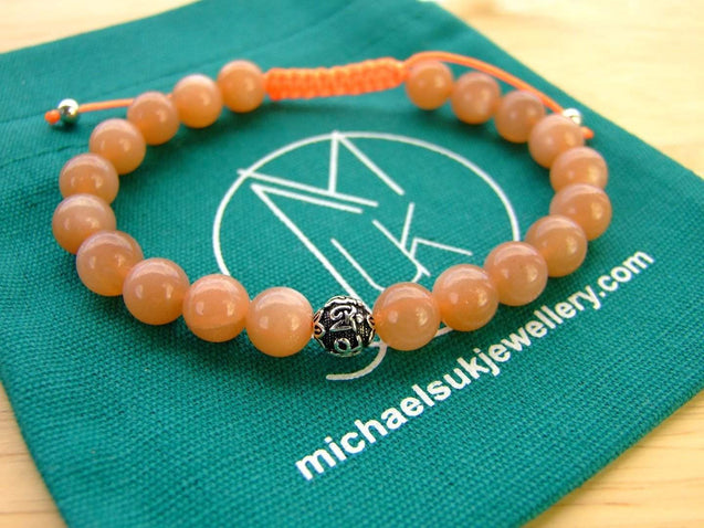 Peach Moonstone Om Sterling Silver Natural Gemstone Bracelet 6-9'' Macrame-Gemstone Bracelets-Michael's UK Jewellery