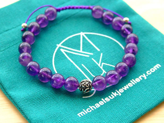 Amethyst Om Sterling Silver Natural Gemstone Bracelet 6-9'' Macrame-Gemstone Bracelets-Michael's UK Jewellery