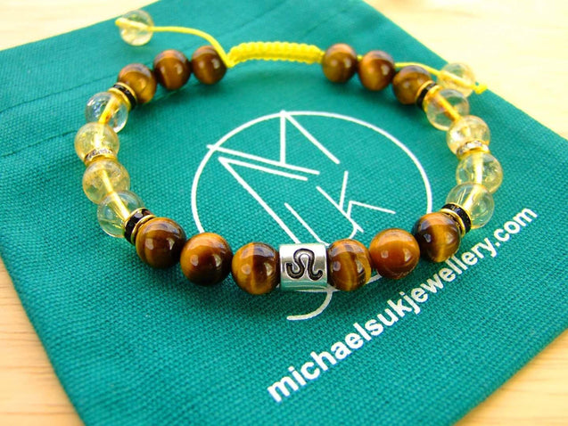 Leo Citrine Tigers Eye Birthstone Bracelet 6-9'' Macrame-Gemstone Bracelets-Michael's UK Jewellery