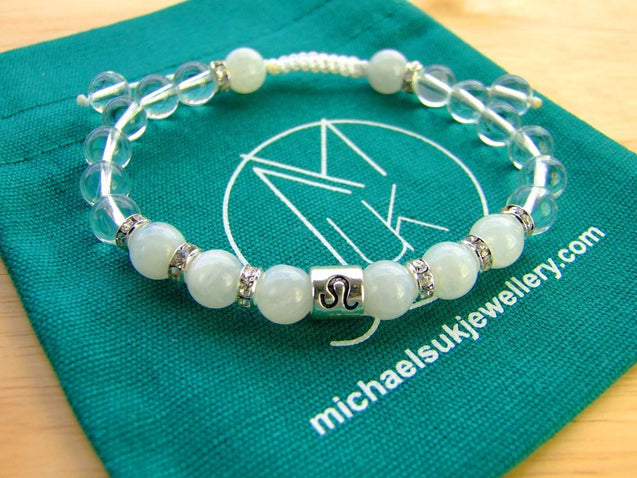 Leo Moonstone Rock Crystal Birthstone Bracelet 6-9'' Macrame-Gemstone Bracelets-Michael's UK Jewellery
