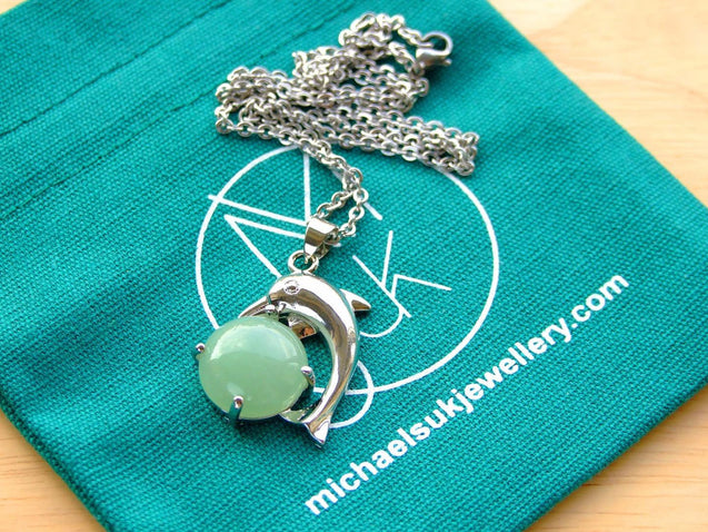 Aventurine Dolphin Natural Gemstone Pendant Necklace 50cm-Pendant Necklace-Michael's UK Jewellery