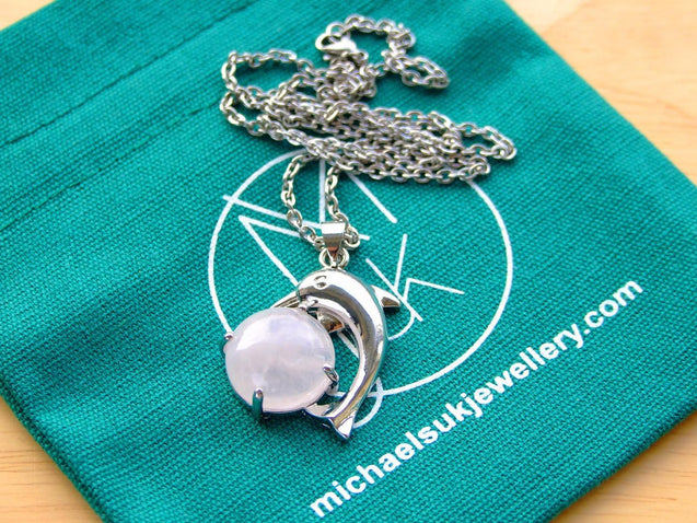 Rose Quartz Dolphin Natural Gemstone Pendant Necklace 50cm-Pendant Necklace-Michael's UK Jewellery