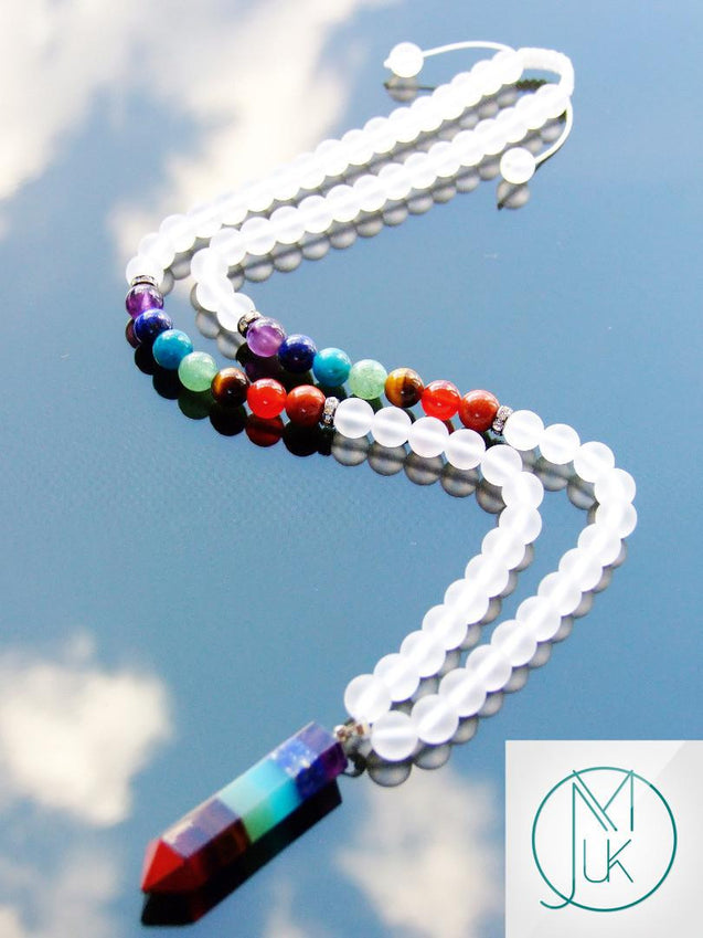 7 Chakra Crystal Natural Gemstone Macrame Necklace-Gemstone Necklaces-Michael's UK Jewellery