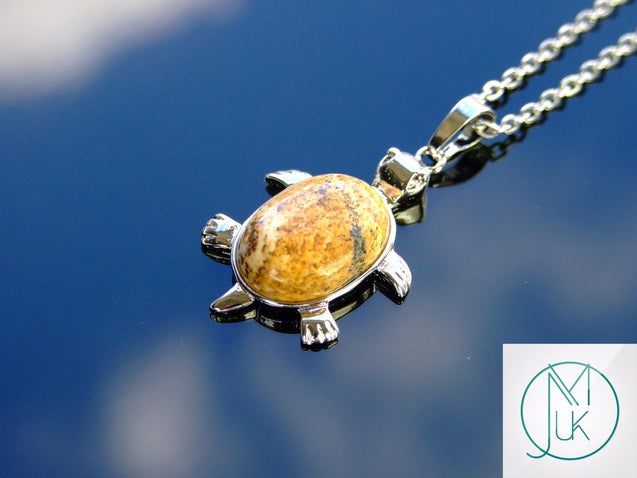 Picture Jasper Turtle Manmade Gemstone Pendant Necklace 50cm-Pendant Necklace-Michael's UK Jewellery
