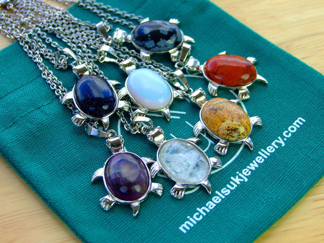 Rock Crystal Turtle Natural Gemstone Pendant Necklace 50cm-Pendant Necklace-Michael's UK Jewellery